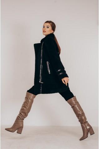 Пальто из экомеха альпака в чёрном цвете. Вставки из экокожи.