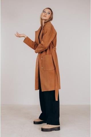 Пальто по колено, со спущенным рукавом в цвете кэмел