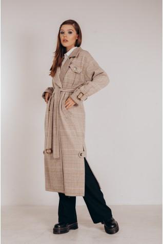 Пальто длинное с распорками по бокам. Цвет бежевая клетка с голубой полоской.