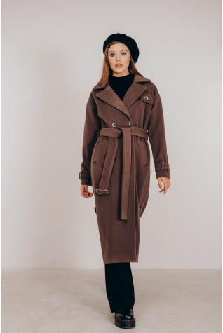 Пальто длинное с распорками по бокам в цвете мокко.