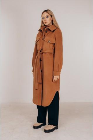 Стильное пальто-рубашка в цвете кэмел