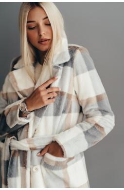 Длинное двубортное пальто из эко меха норка клетка серая с карманами зимнее с утеплителем