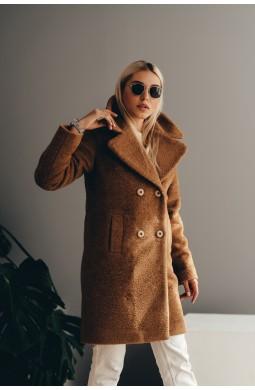 Пальто укороченное из эко меха альпака кэмел с карманами демисезонное