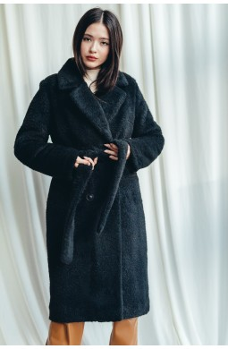 Пальто длинное чёрного цвета из эко меха альпака. Зима. Утеплитель слимтекс.