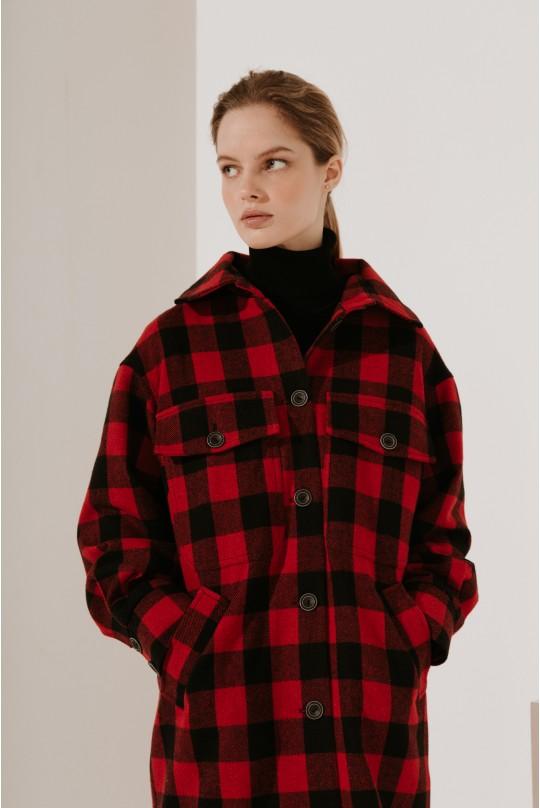 Пальто-рубашка длинное красная клетка