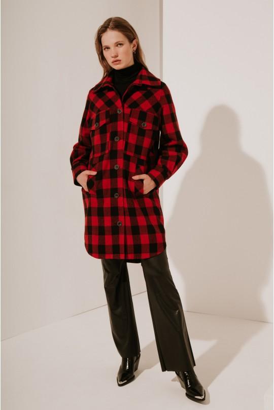 Пальто-рубашка длинное с кокеткой