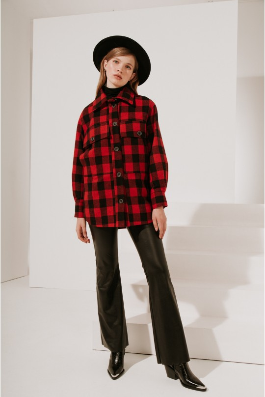 Пальто-рубашка короткое красная клетка