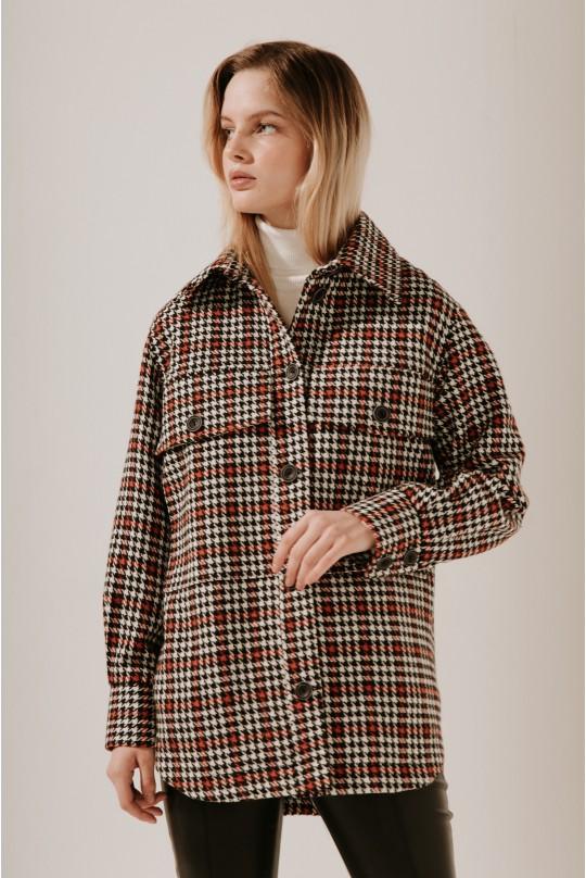 Пальто-рубашка короткое