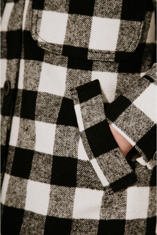 Пальто-рубашка длинное черная клетка