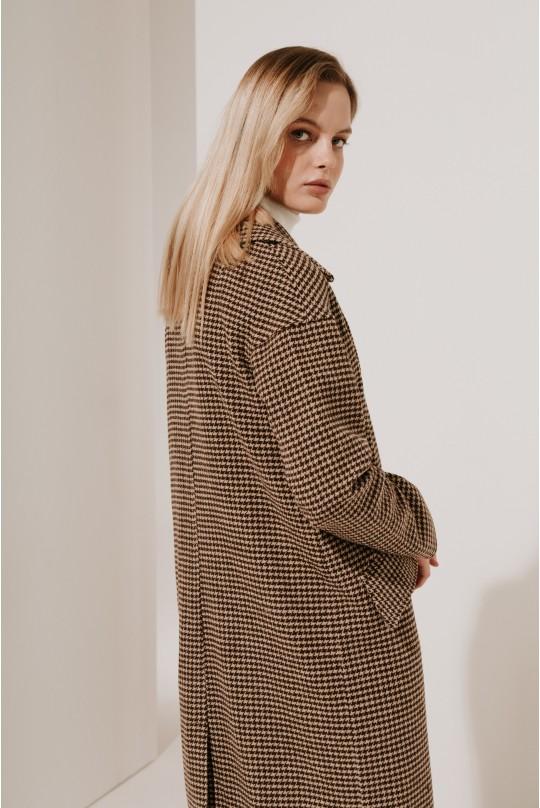 Пальто длинное со спущенным плечом (Есть пояс)