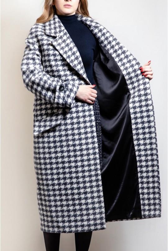Пальто женское Valentir длинное оверсайз со спущенным плечом