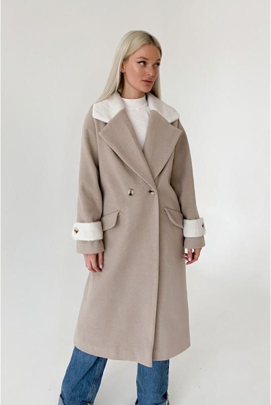 Пальто женское длинное Valentir OVERSIZE со спущенным плечом