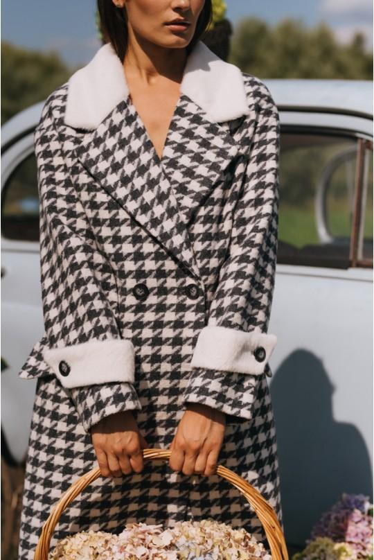 Пальто женское длинное Valentir OVERSIZE со спущенным плечом и хлястиком