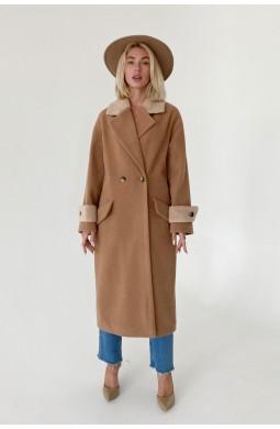 Пальто женское длинное Valentir оверсайз со спущенным плечом на 2 пуговицы