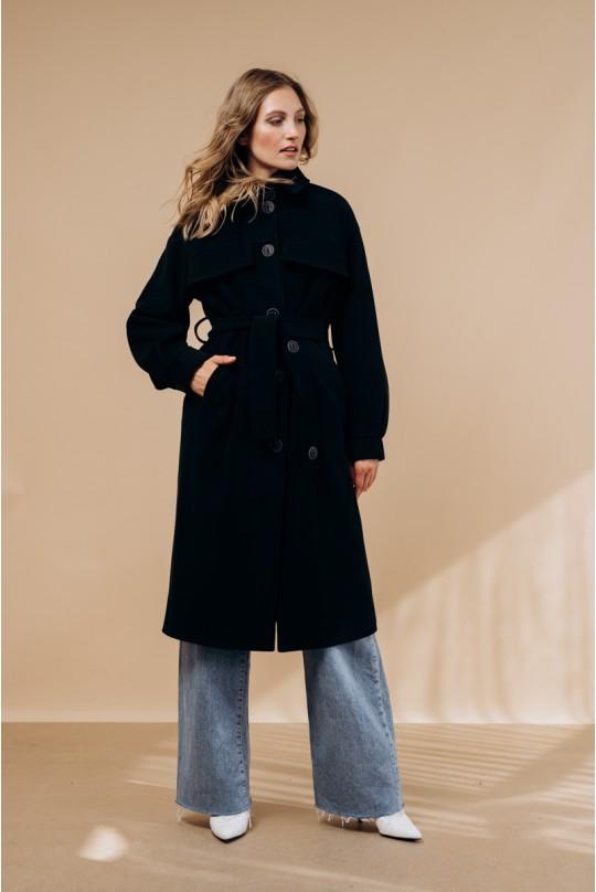 Пальто в рубашечном стиле в цвете чёрный.