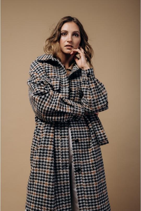Пальто-рубашка длинное с поясом. В гусиную лапку кэмел.