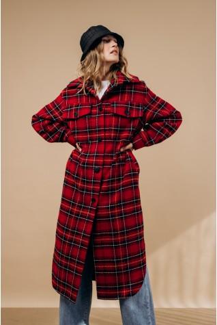Пальто-рубашка длинное с поясом. В красную клетку.