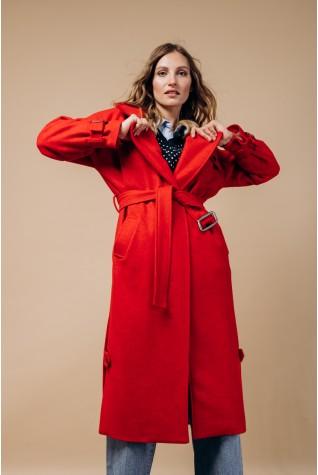 Пальто длинное Valentir с распорками по бокам Красное