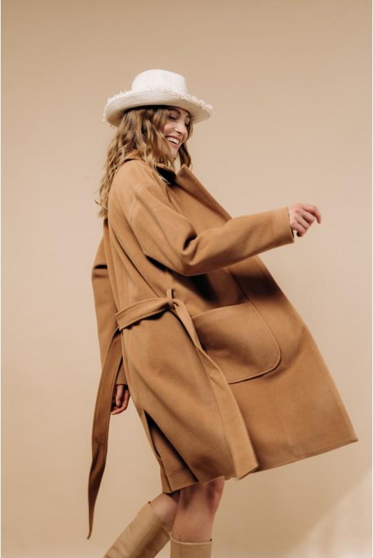 Пальто по колено Valentir со спущенным рукавом Кэмел