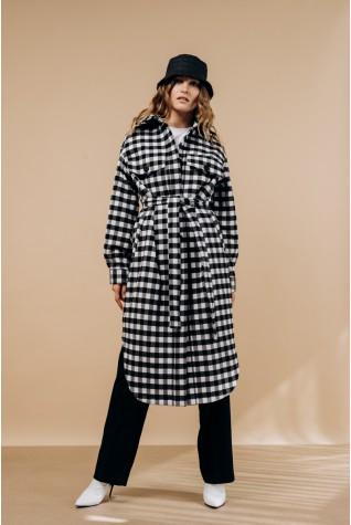 Пальто-рубашка Valentir длинное с поясом ч/б клетка