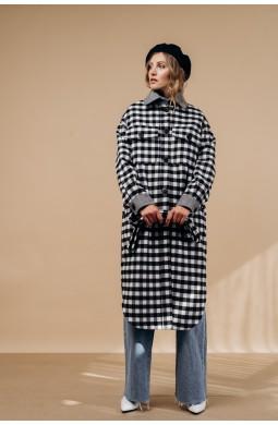 Пальто-рубашка Valentir длинное В черно-белую клетку