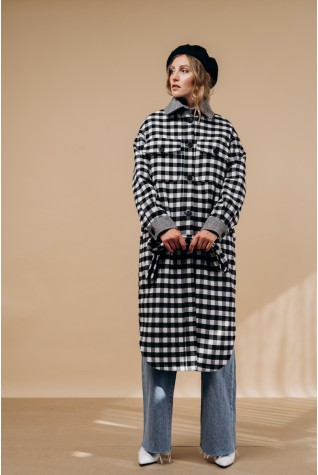 Пальто-рубашка Valentir длинное с поясом клетка