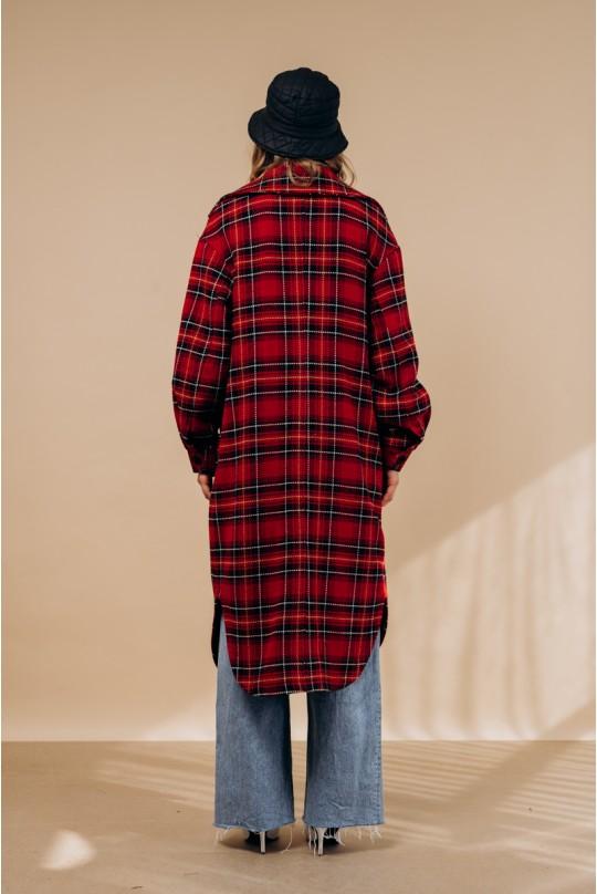 Пальто-рубашка Valentir длинное с поясом В клетку