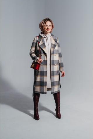 Пальто Valentir в классическом стиле с поясом клетка