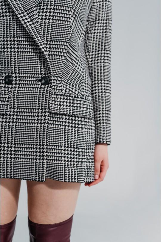 Пальто-пиджак Valentir удлиненный, черно-белая клетка