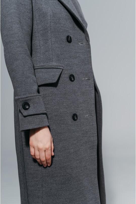 Пальто Valentir полуприталенный силуэта Серый