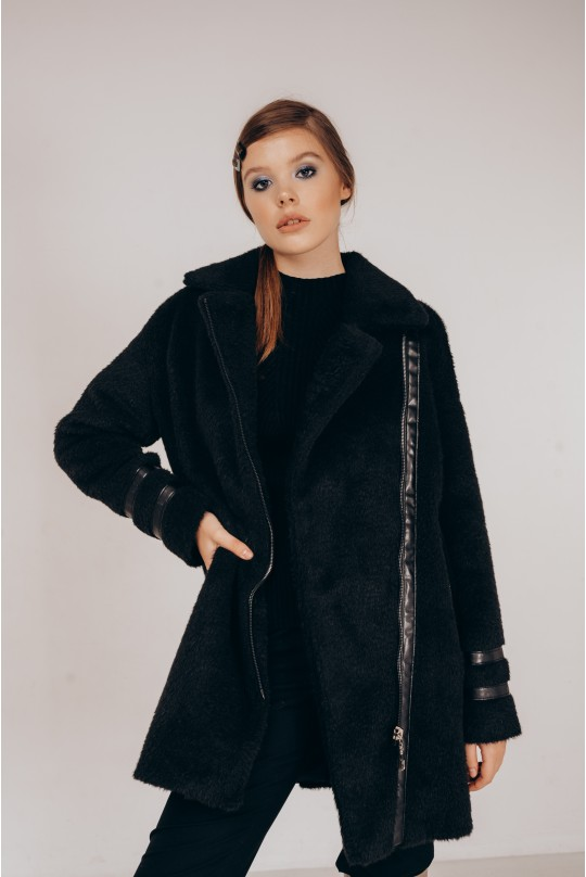 Пальто Valentir из экомеха альпака Черное
