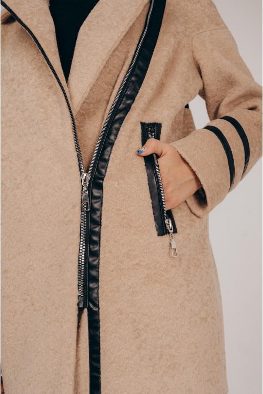 Пальто Valentir из эко меха альпака Бежевое