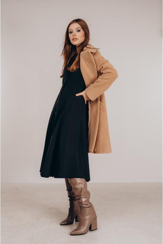 Пальто прямого кроя двубортное из итальянской ткани
