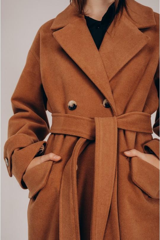 Пальто свободного кроя Valentir под пояс Кэмел