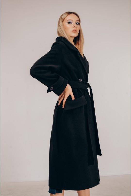Пальто свободного кроя Valentir под пояс Черное
