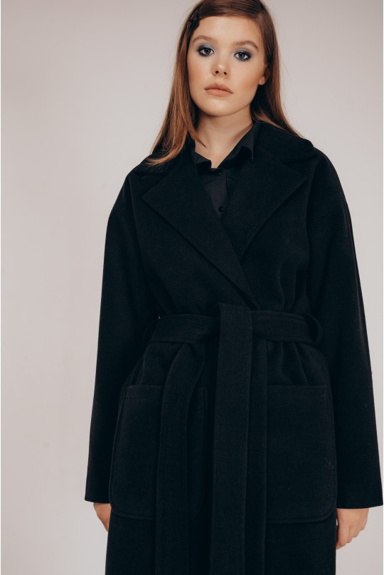Пальто со спущенным плечом Valentir под пояс Черный
