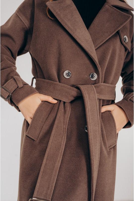 Пальто длинное Valentir с распорками по бокам Мокко