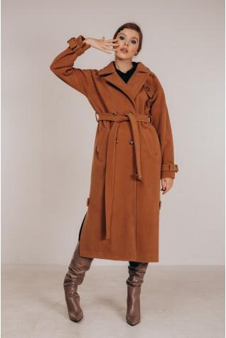 Пальто длинное Valentir с распорками по бокам Кэмел