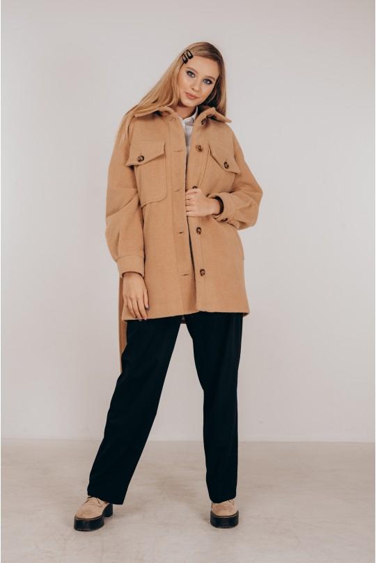 Стильное пальто-рубашка утепленное Valentir под пояс Кэмел
