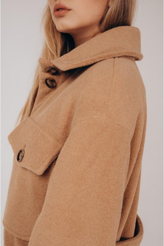 Стильное пальто-рубашка Valentir утепленное под пояс