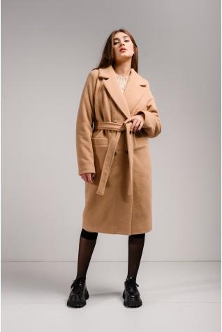 Пальто прямого кроя Valentir из эко меха Песочный