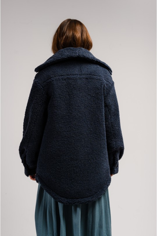 Пальто-рубашка Valentir с накладными карманами Глубокий синий