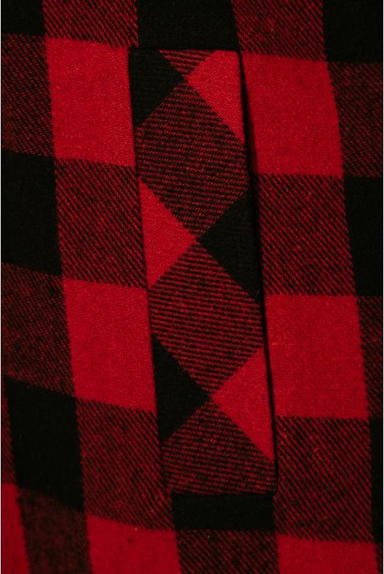 Пальто-рубашка Valentir длинное Клетка красная 3010
