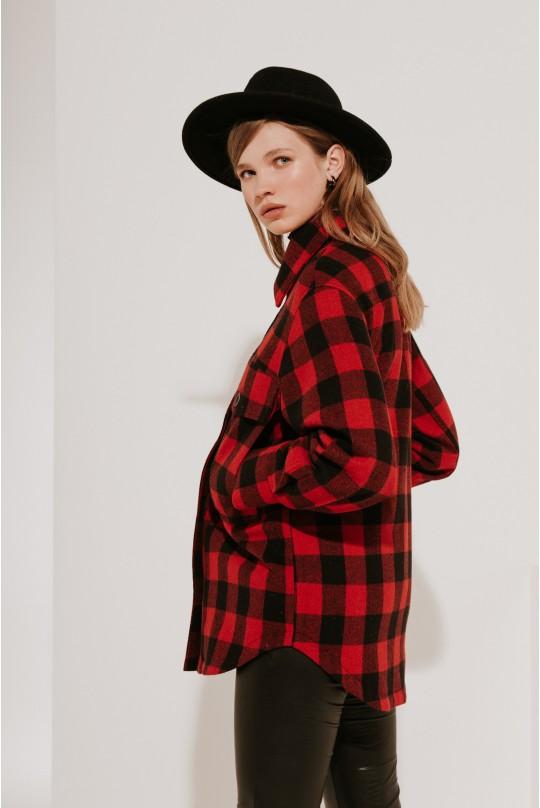 Пальто-рубашка Valentir короткое Красная клетка 3013