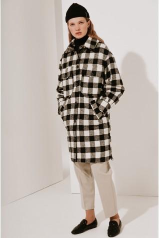 Пальто-рубашка Valentir длинное черная клетка 3017