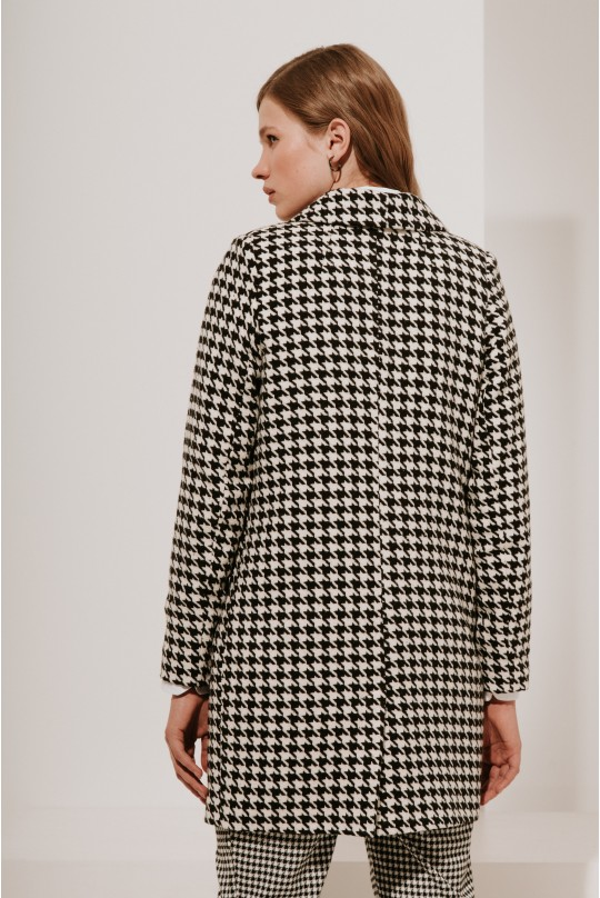 Пальто укороченное Valentir на 2 пуговицы Крупная гусиная лапка 3019