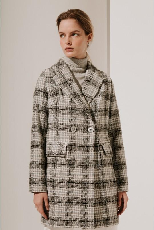 Пальто укороченное Valentir в клетку 3021