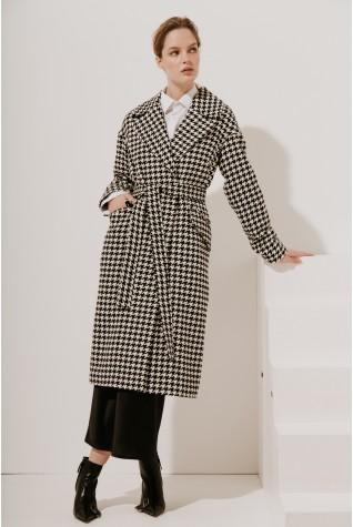 Пальто длинное со спущенным плечом Valentir (Есть пояс) 3030
