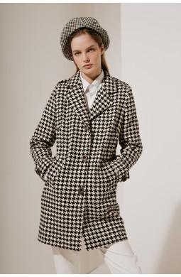 Пальто укороченное Valentir с пагонами на плечах Гусиная лапка 3035