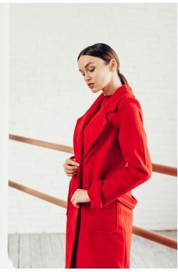Пальто Красное длинное с накладными карманами